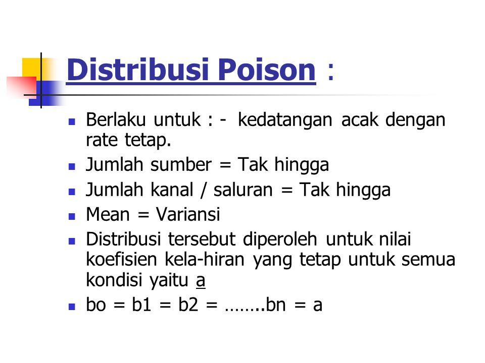Distribusi Poison : Berlaku untuk : - kedatangan acak dengan rate tetap.