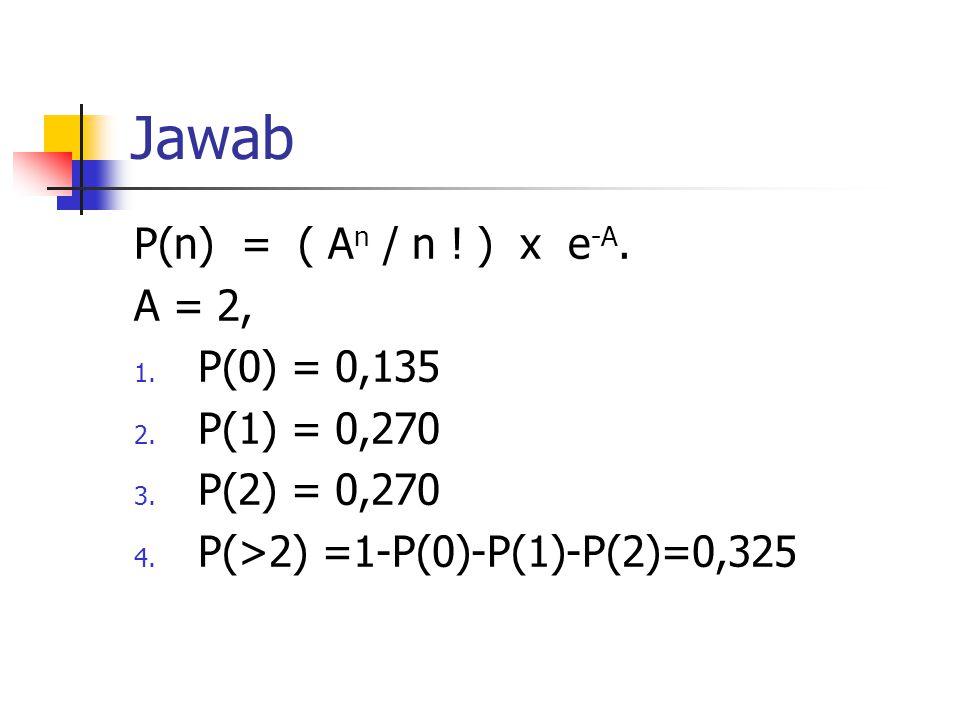 Jawab P(n) = ( A n / n .) x e -A. A = 2, 1. P(0) = 0,135 2.