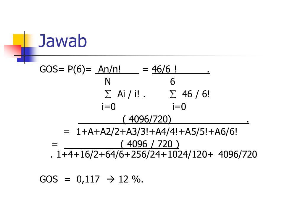 Jawab GOS= P(6)= An/n.= 46/6 !. N 6  Ai / i!.  46 / 6.