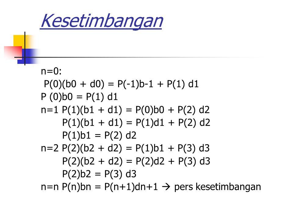 Kesetimbangan n=0: P(0)(b0 + d0) = P(-1)b-1 + P(1) d1 P (0)b0 = P(1) d1 n=1 P(1)(b1 + d1) = P(0)b0 + P(2) d2 P(1)(b1 + d1) = P(1)d1 + P(2) d2 P(1)b1 = P(2) d2 n=2 P(2)(b2 + d2) = P(1)b1 + P(3) d3 P(2)(b2 + d2) = P(2)d2 + P(3) d3 P(2)b2 = P(3) d3 n=n P(n)bn = P(n+1)dn+1  pers kesetimbangan