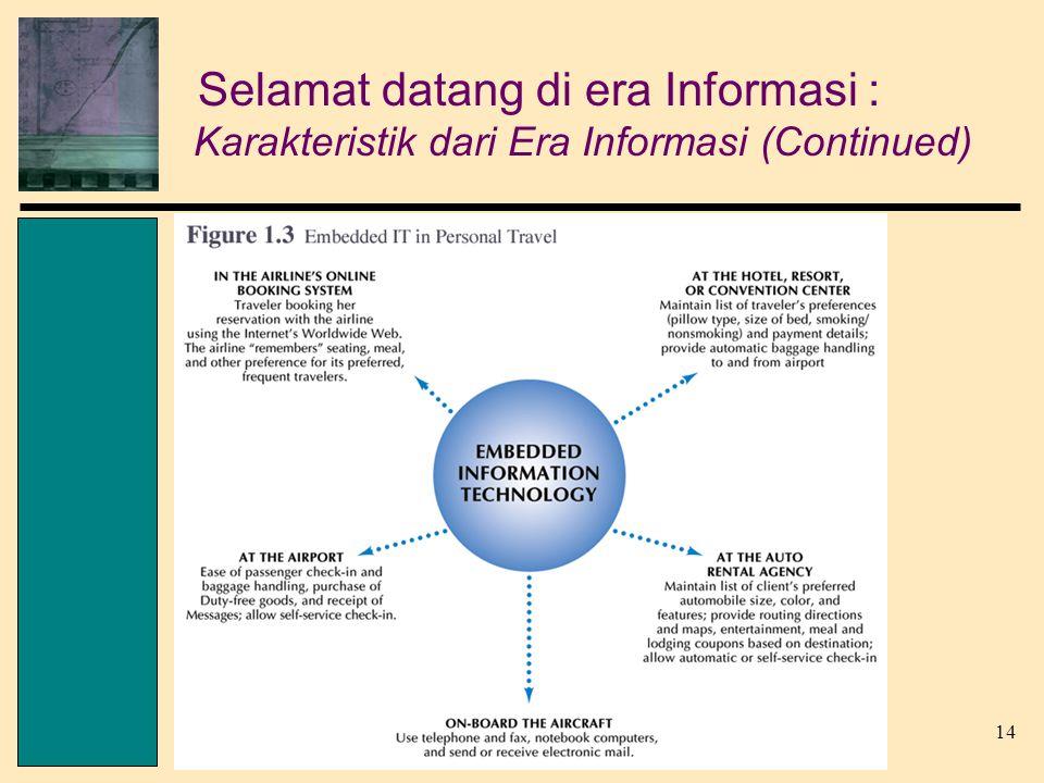 14 Senn, Information Technology, 3 rd Edition © 2004 Pearson Prentice Hall Selamat datang di era Informasi : Karakteristik dari Era Informasi (Continued)