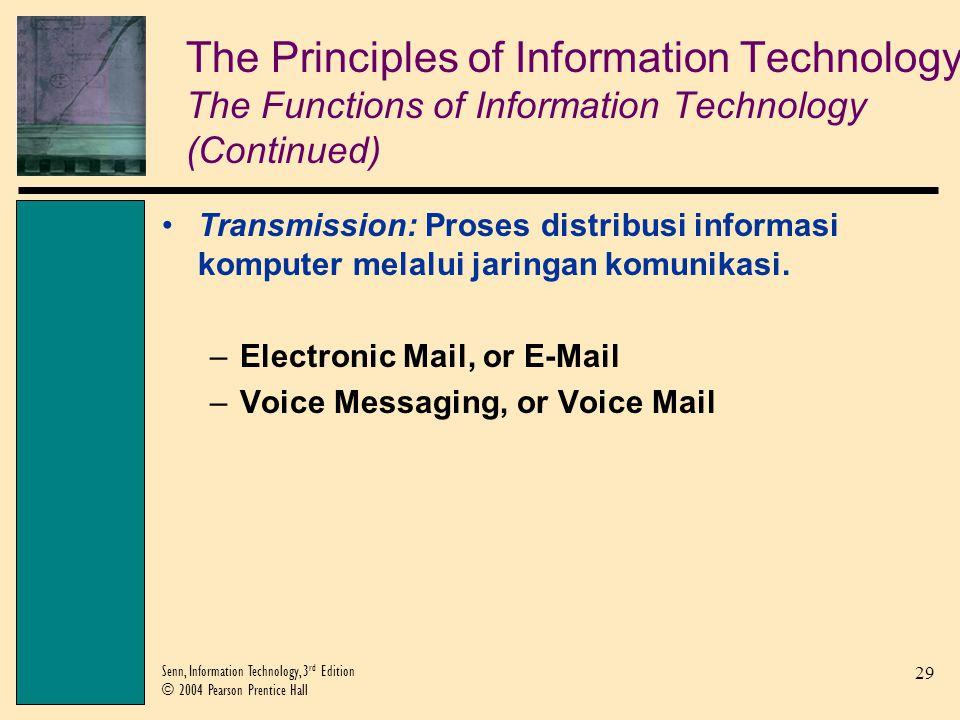 29 Senn, Information Technology, 3 rd Edition © 2004 Pearson Prentice Hall Transmission: Proses distribusi informasi komputer melalui jaringan komunikasi.