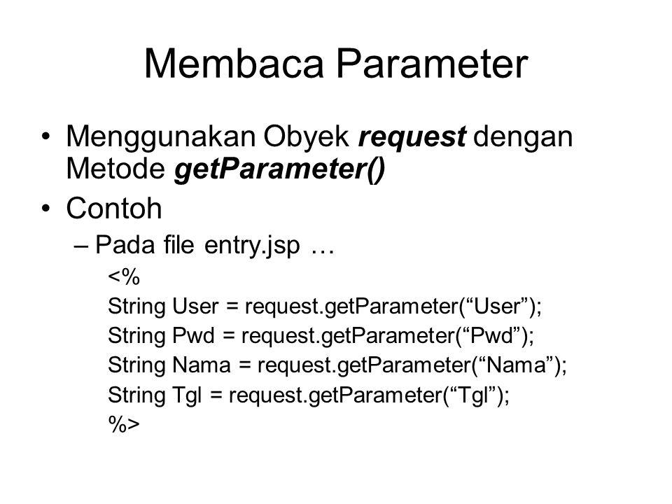 Membaca Parameter Menggunakan Obyek request dengan Metode getParameter() Contoh –Pada file entry.jsp … <% String User = request.getParameter( User ); String Pwd = request.getParameter( Pwd ); String Nama = request.getParameter( Nama ); String Tgl = request.getParameter( Tgl ); %>