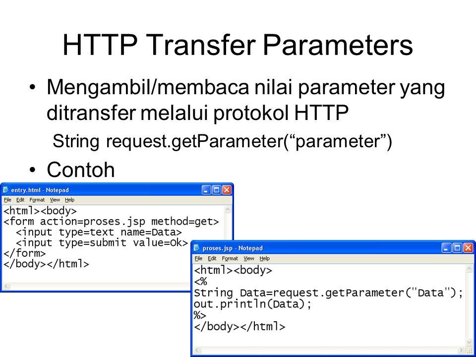 HTTP Transfer Parameters Mengambil/membaca nilai parameter yang ditransfer melalui protokol HTTP String request.getParameter( parameter ) Contoh