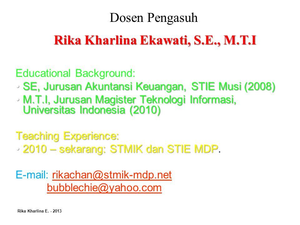 Pokok Bahasan Rika Kharlina E.- 2013 1Pendahuluan 2 Manajemen.