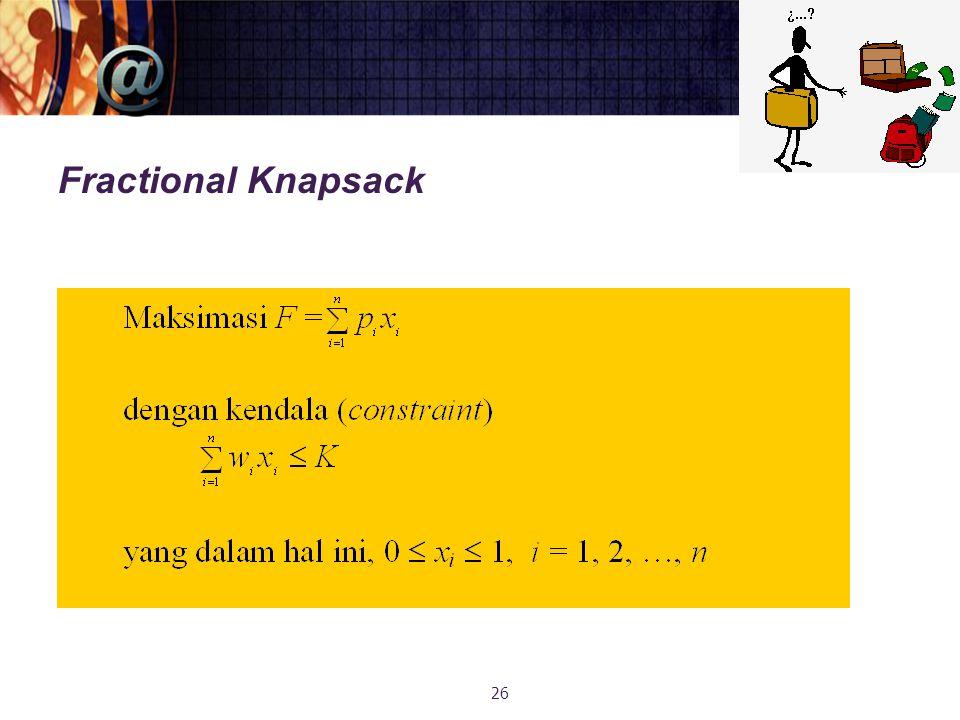 Fractional Knapsack 26