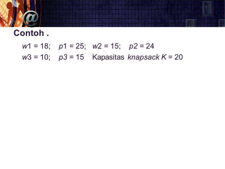Contoh. w1 = 18; p1 = 25; w2 = 15; p2 = 24 w3 = 10; p3 = 15 Kapasitas knapsack K = 20
