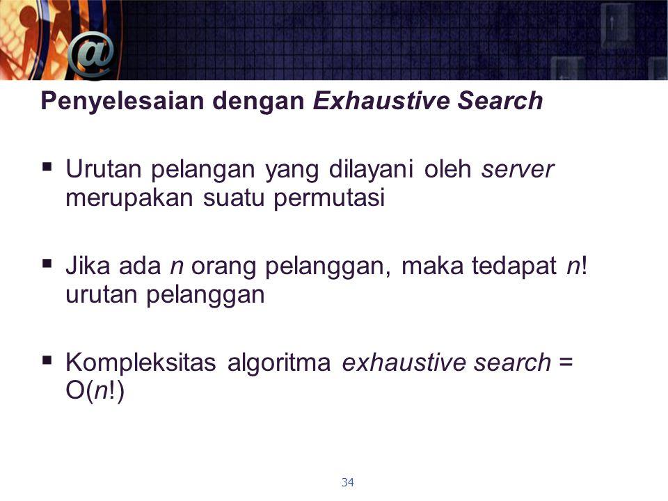 Penyelesaian dengan Exhaustive Search  Urutan pelangan yang dilayani oleh server merupakan suatu permutasi  Jika ada n orang pelanggan, maka tedapat