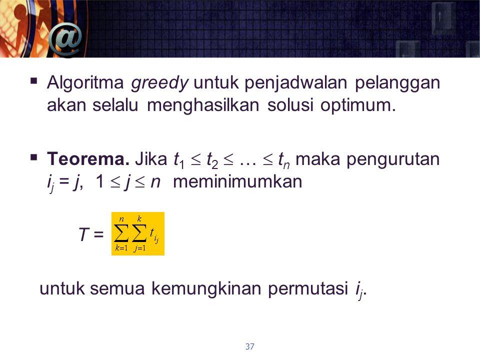  Algoritma greedy untuk penjadwalan pelanggan akan selalu menghasilkan solusi optimum.  Teorema. Jika t 1  t 2  …  t n maka pengurutan i j = j, 1