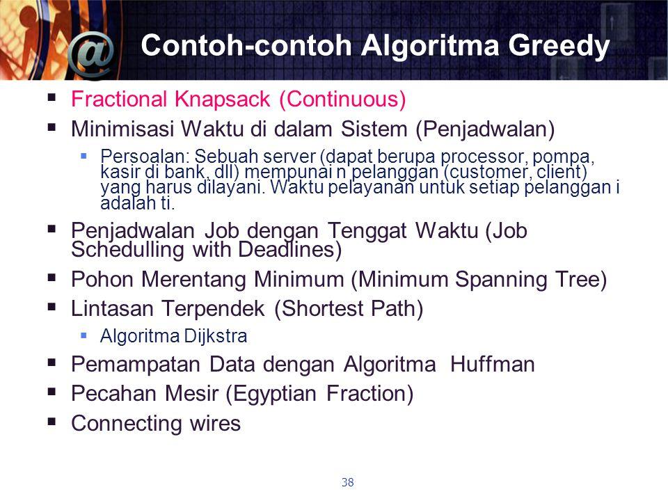 Contoh-contoh Algoritma Greedy  Fractional Knapsack (Continuous)  Minimisasi Waktu di dalam Sistem (Penjadwalan)  Persoalan: Sebuah server (dapat b