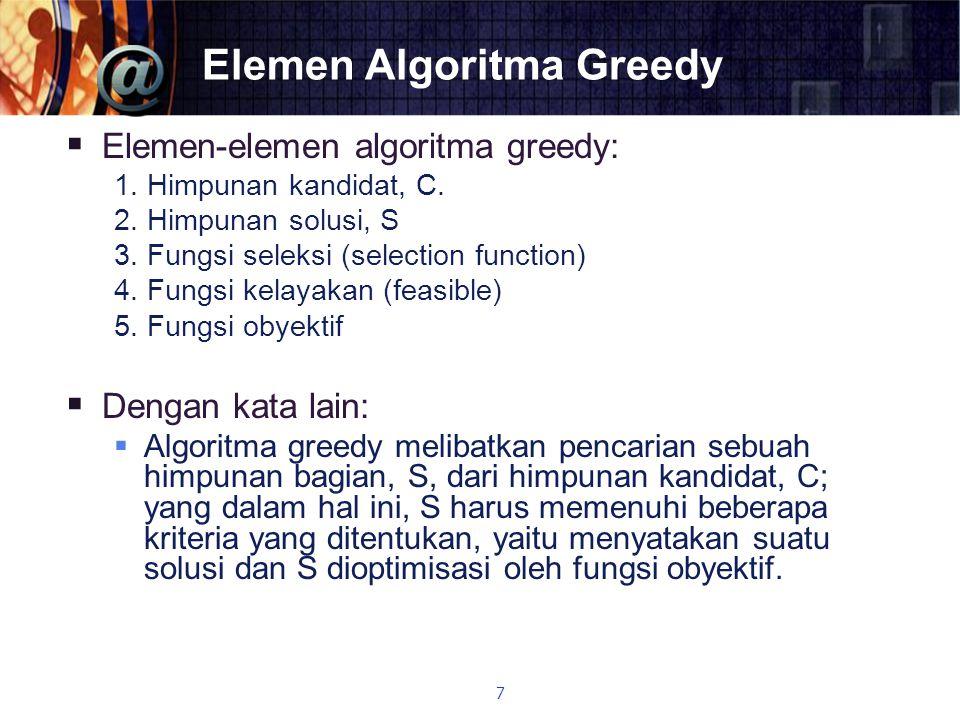 Elemen Algoritma Greedy  Elemen-elemen algoritma greedy: 1. Himpunan kandidat, C. 2. Himpunan solusi, S 3. Fungsi seleksi (selection function) 4. Fun