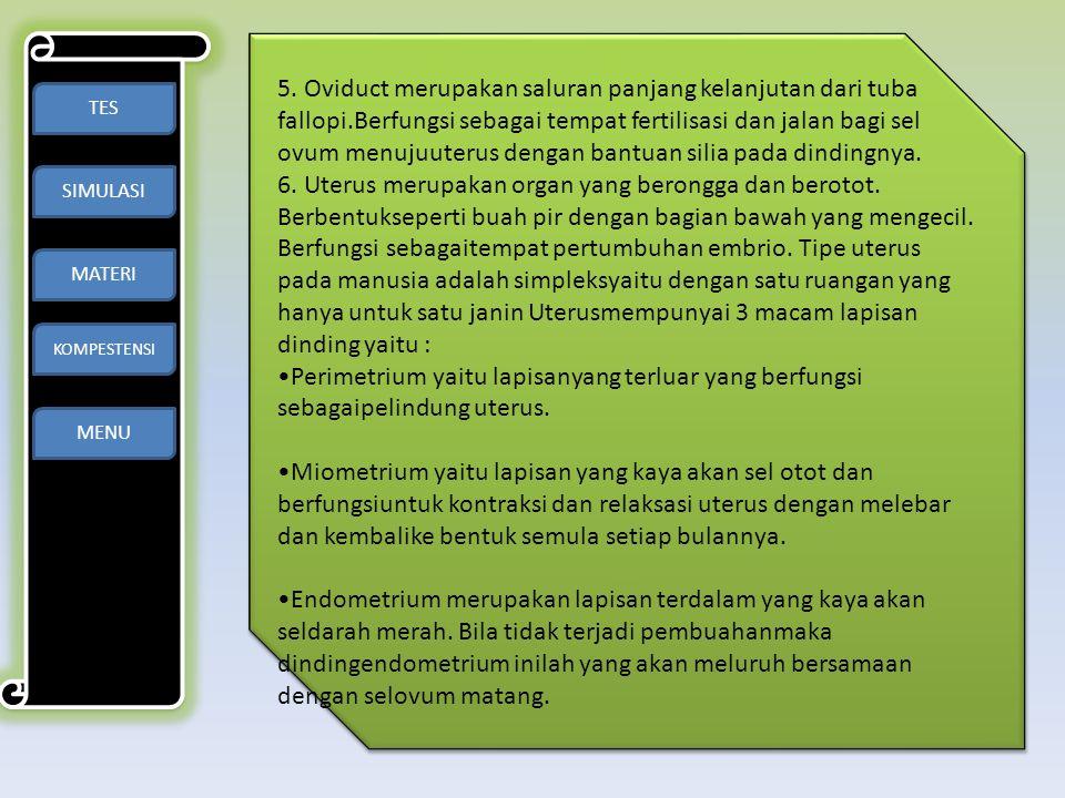 TES SIMULASI MATERI KOMPESTENSI MENU 5. Oviduct merupakan saluran panjang kelanjutan dari tuba fallopi.Berfungsi sebagai tempat fertilisasi dan jalan
