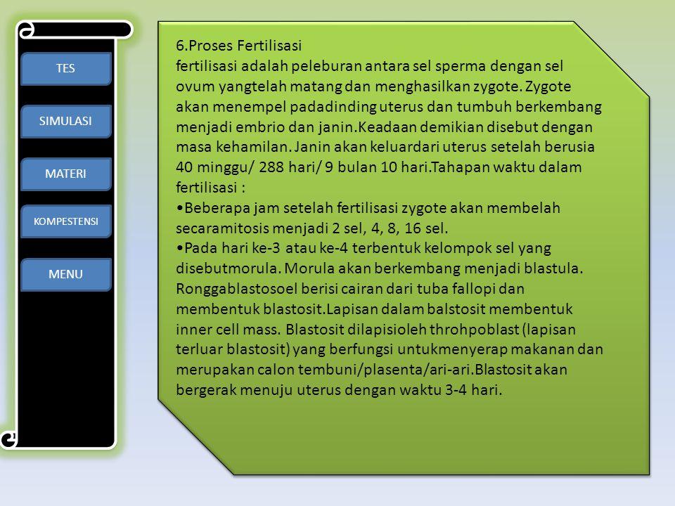 TES SIMULASI MATERI KOMPESTENSI MENU 6.Proses Fertilisasi fertilisasi adalah peleburan antara sel sperma dengan sel ovum yangtelah matang dan menghasi