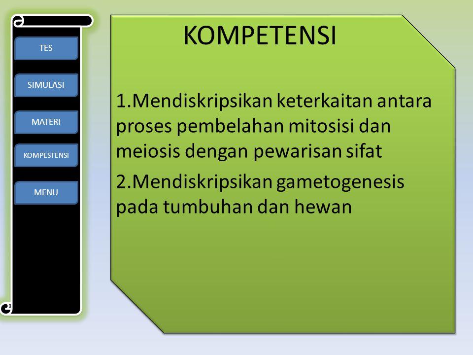 KOMPETENSI 1.Mendiskripsikan keterkaitan antara proses pembelahan mitosisi dan meiosis dengan pewarisan sifat 2.Mendiskripsikan gametogenesis pada tum