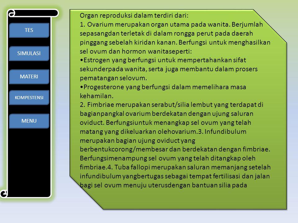 TES SIMULASI MATERI KOMPESTENSI MENU Organ reproduksi dalam terdiri dari: 1. Ovarium merupakan organ utama pada wanita. Berjumlah sepasangdan terletak