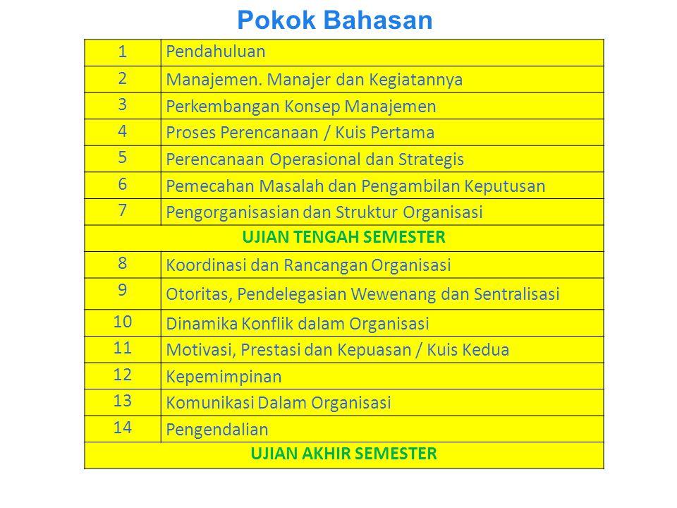 Pokok Bahasan 1Pendahuluan 2 Manajemen.