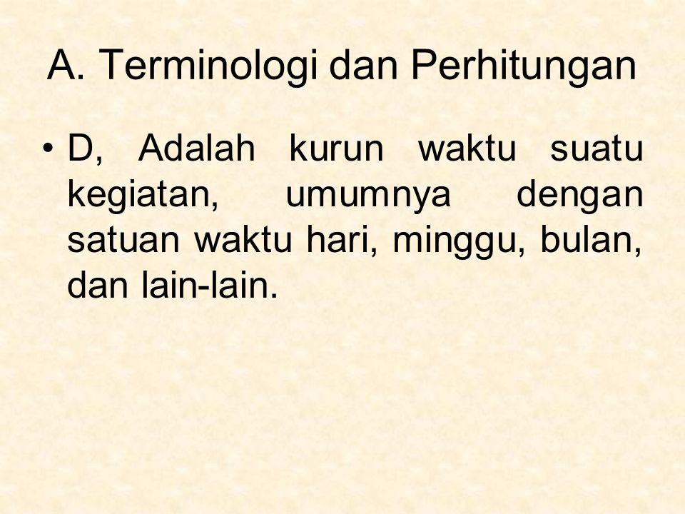 A. Terminologi dan Perhitungan D, Adalah kurun waktu suatu kegiatan, umumnya dengan satuan waktu hari, minggu, bulan, dan lain-lain.