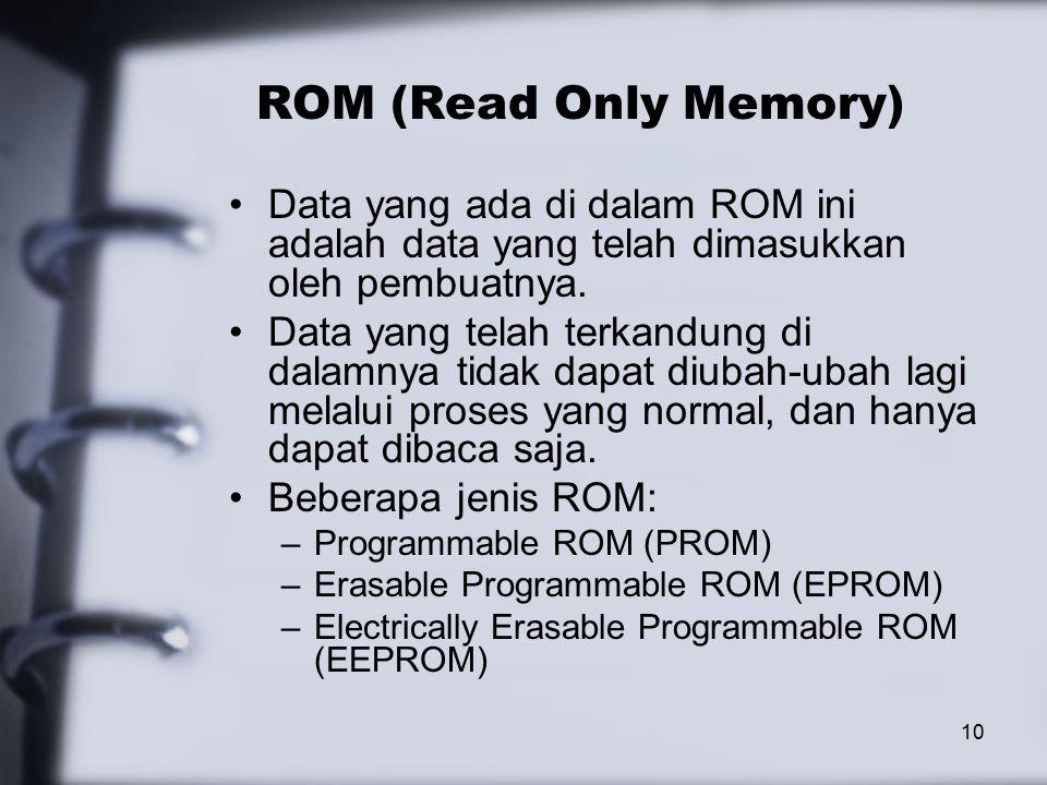 10 ROM (Read Only Memory) Data yang ada di dalam ROM ini adalah data yang telah dimasukkan oleh pembuatnya.