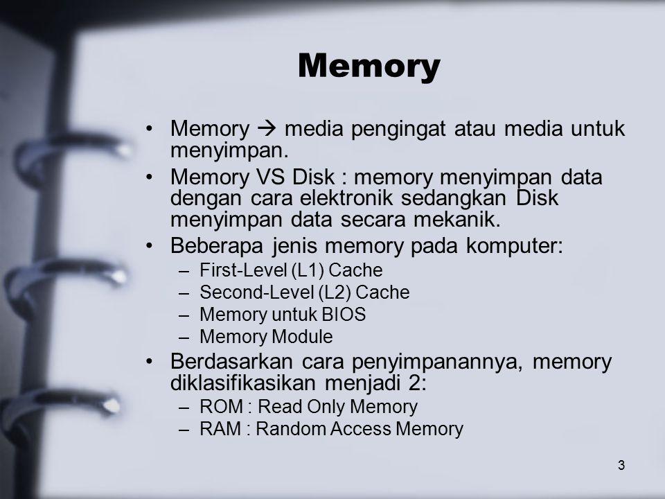 3 Memory Memory  media pengingat atau media untuk menyimpan.