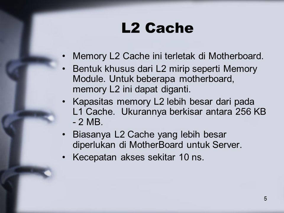 5 L2 Cache Memory L2 Cache ini terletak di Motherboard.