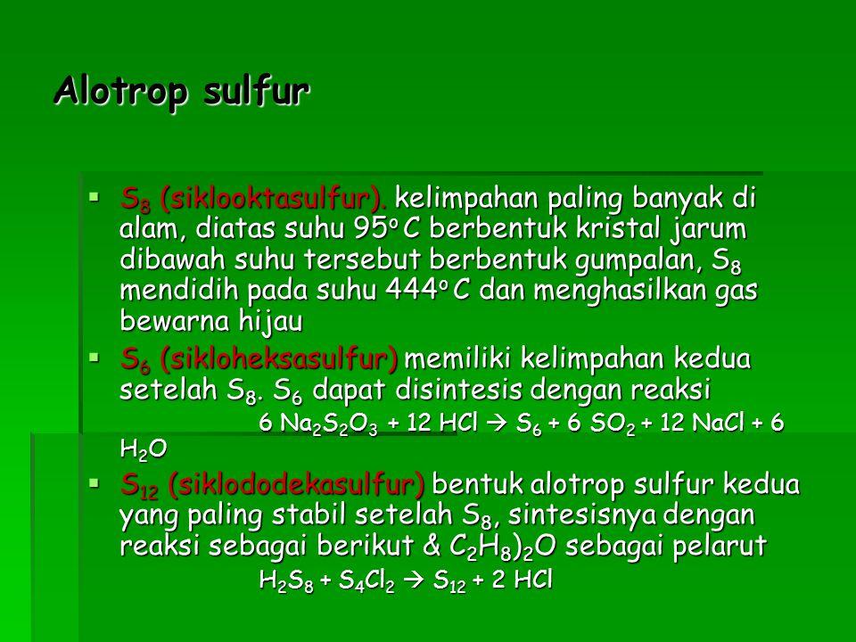 H 2 S dapat digunakan segagai sumber belerang, H 2 S tersebut di reaksikan dengan Etanolamin (H0CH 2 CH 2 NH 2 )  metoda ClausH 2 S dapat digunakan segagai sumber belerang, H 2 S tersebut di reaksikan dengan Etanolamin (H0CH 2 CH 2 NH 2 )  metoda Claus H0CH 2 CH 2 NH 2 (l) + gas bumi H0CH 2 CH 2 NH 3 + + HS - HS - H 2 S (g) HS - H 2 S (g) 2 H 2 S (g) + 3 0 2  2 SO 2 + 2 H 2 0 2 SO 2 + 2 H 2 S  6 S + 4 H 2 O Cara lain selain dua metoda diatas adalah dengan mengolah Pyrit (FeS 2 )Cara lain selain dua metoda diatas adalah dengan mengolah Pyrit (FeS 2 ) FeS 2 FeS + S (g) Kalor, H 2 O kalor