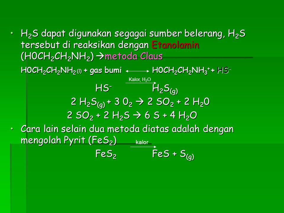 H 2 S dapat digunakan segagai sumber belerang, H 2 S tersebut di reaksikan dengan Etanolamin (H0CH 2 CH 2 NH 2 )  metoda ClausH 2 S dapat digunakan s