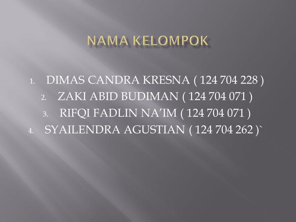 1. DIMAS CANDRA KRESNA ( 124 704 228 ) 2. ZAKI ABID BUDIMAN ( 124 704 071 ) 3. RIFQI FADLIN NA'IM ( 124 704 071 ) 4. SYAILENDRA AGUSTIAN ( 124 704 262