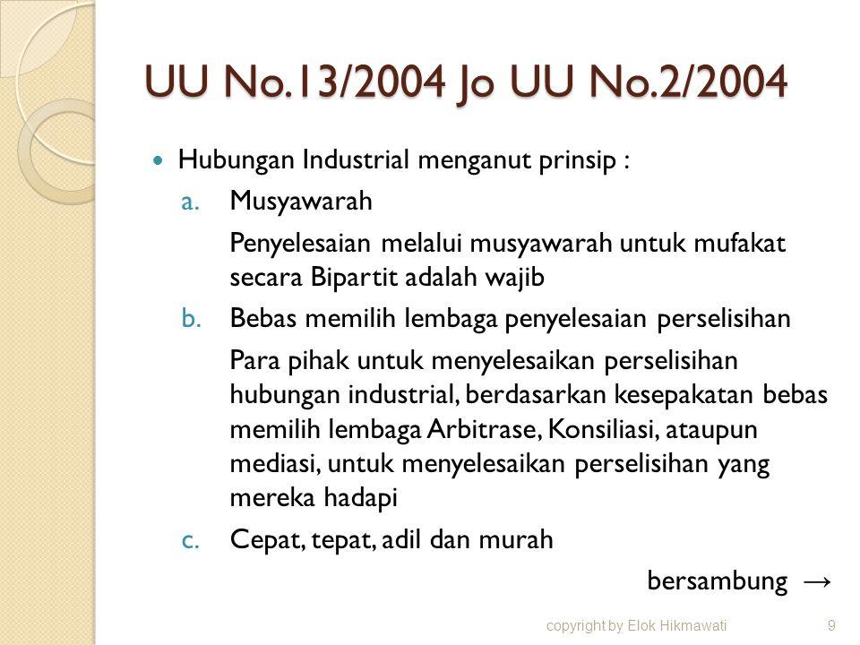 UU No.13/2004 Jo UU No.2/2004 Hubungan Industrial menganut prinsip : a.Musyawarah Penyelesaian melalui musyawarah untuk mufakat secara Bipartit adalah