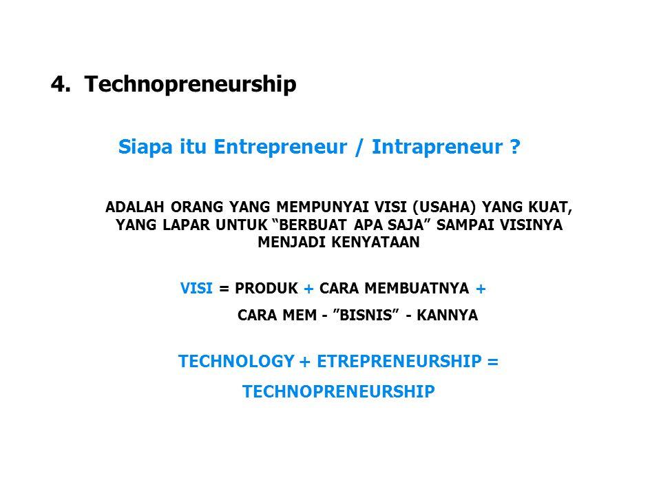 """LDKJFAK 4. Technopreneurship Siapa itu Entrepreneur / Intrapreneur ? ADALAH ORANG YANG MEMPUNYAI VISI (USAHA) YANG KUAT, YANG LAPAR UNTUK """"BERBUAT APA"""