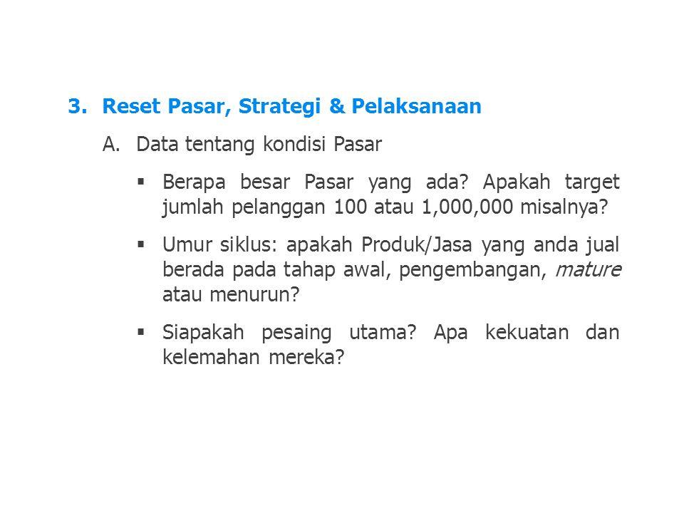 LDKJFAK 3.Reset Pasar, Strategi & Pelaksanaan A.Data tentang kondisi Pasar  Berapa besar Pasar yang ada? Apakah target jumlah pelanggan 100 atau 1,00
