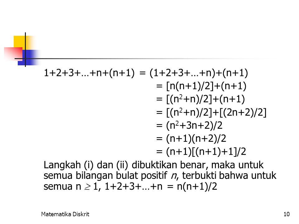 Matematika Diskrit10 1+2+3+…+n+(n+1) = (1+2+3+…+n)+(n+1) = [n(n+1)/2]+(n+1) = [(n 2 +n)/2]+(n+1) = [(n 2 +n)/2]+[(2n+2)/2] = (n 2 +3n+2)/2 = (n+1)(n+2