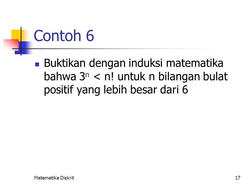 Matematika Diskrit17 Contoh 6 Buktikan dengan induksi matematika bahwa 3 n < n! untuk n bilangan bulat positif yang lebih besar dari 6