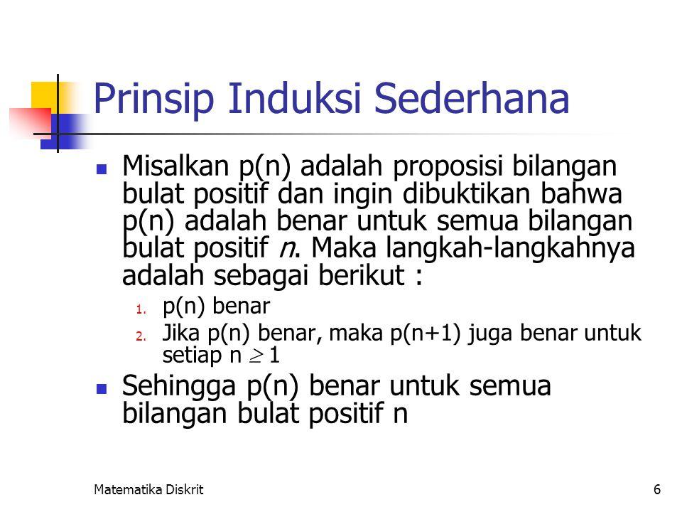 Matematika Diskrit6 Prinsip Induksi Sederhana Misalkan p(n) adalah proposisi bilangan bulat positif dan ingin dibuktikan bahwa p(n) adalah benar untuk