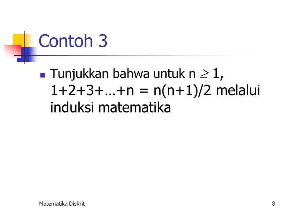 Matematika Diskrit8 Contoh 3 Tunjukkan bahwa untuk n  1, 1+2+3+…+n = n(n+1)/2 melalui induksi matematika