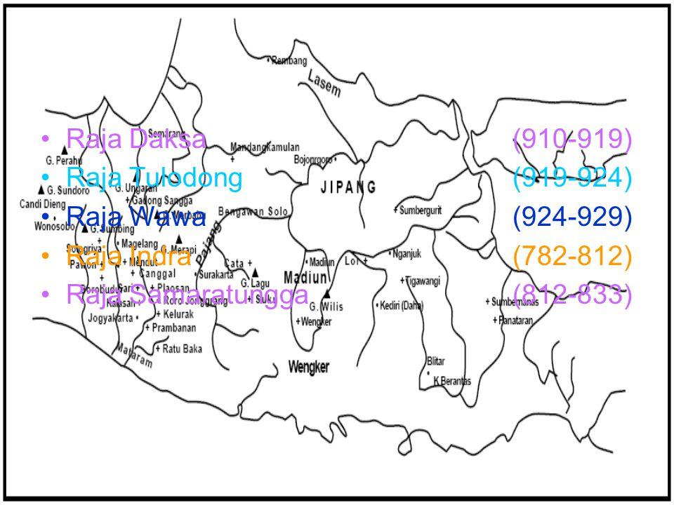 Raja Daksa(910-919) Raja Tulodong(919-924) Raja Wawa(924-929) Raja Indra(782-812) Raja Samaratungga (812-833)