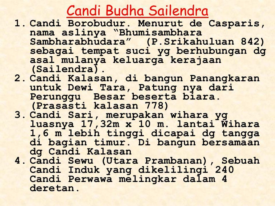 """Candi Budha Sailendra 1.Candi Borobudur. Menurut de Casparis, nama aslinya """"Bhumisambhara Sambharabhudara"""" (P.Srikahuluan 842) sebagai tempat suci yg"""