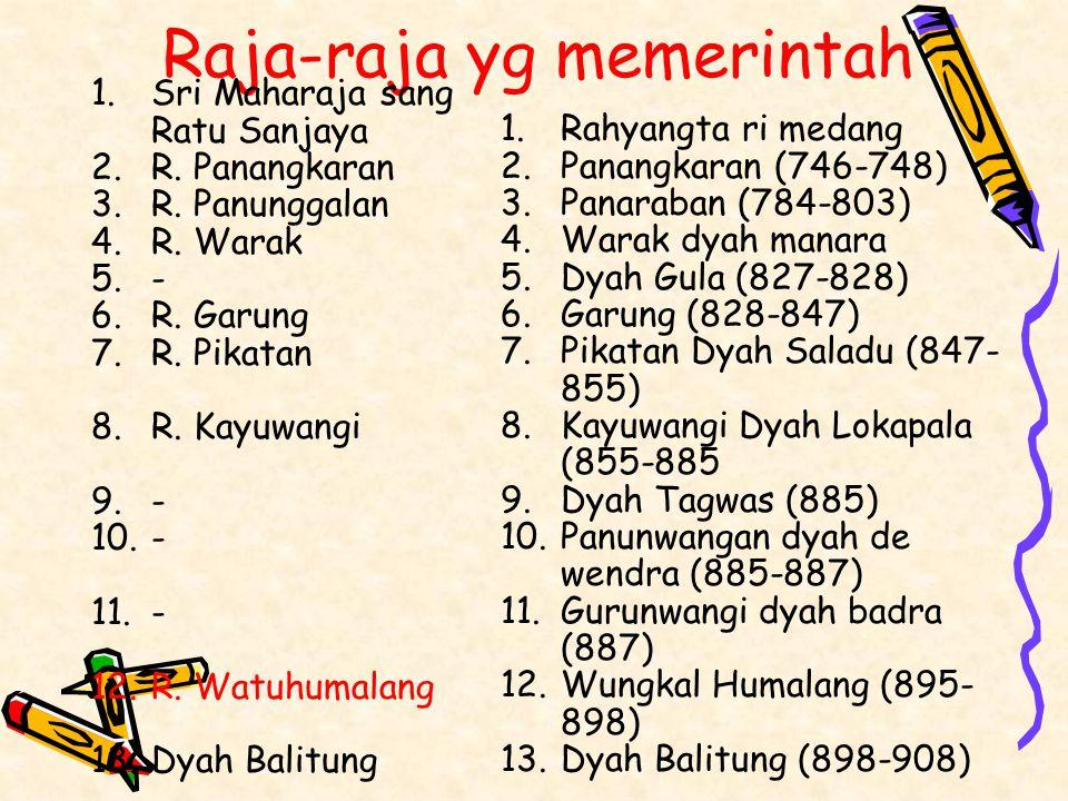 Raja-raja yg memerintah 1.Rahyangta ri medang 2.Panangkaran (746-748) 3.Panaraban (784-803) 4.Warak dyah manara 5.Dyah Gula (827-828) 6.Garung (828-84