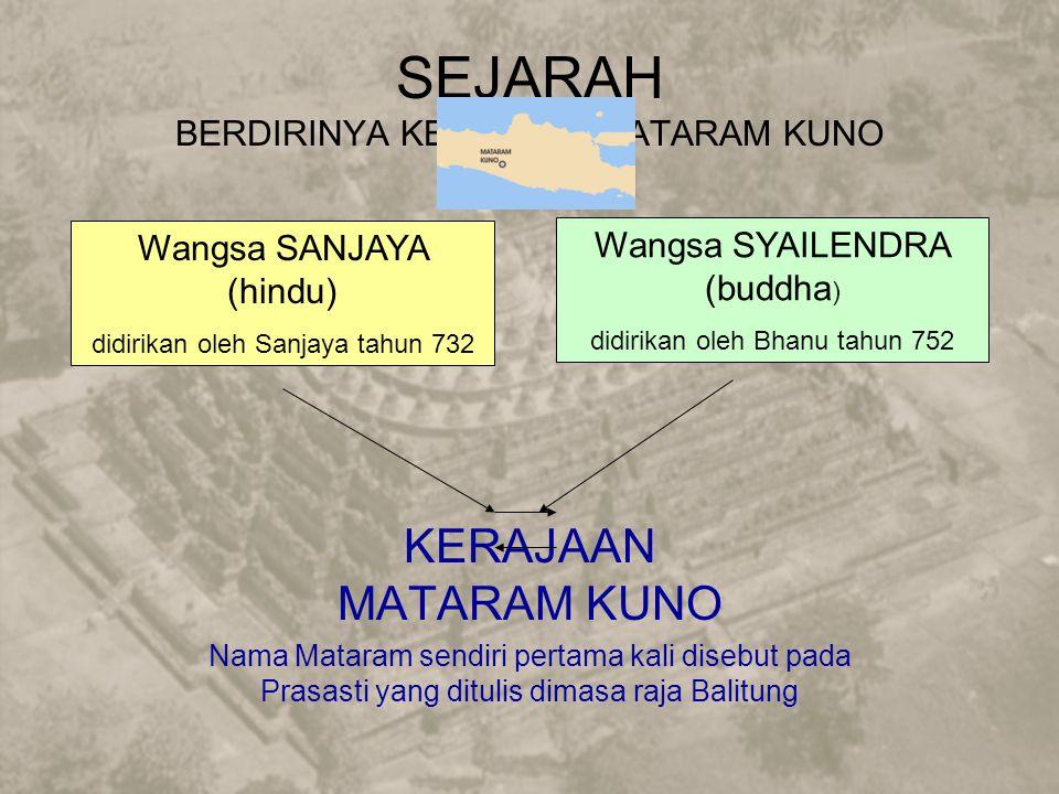 SEJARAH BERDIRINYA KERAJAAN MATARAM KUNO KERAJAAN MATARAM KUNO Nama Mataram sendiri pertama kali disebut pada Prasasti yang ditulis dimasa raja Balitung Wangsa SANJAYA (hindu) didirikan oleh Sanjaya tahun 732 Wangsa SYAILENDRA (buddha ) didirikan oleh Bhanu tahun 752
