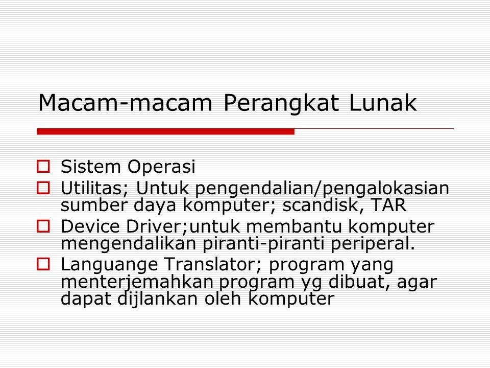 Macam-macam Perangkat Lunak  Sistem Operasi  Utilitas; Untuk pengendalian/pengalokasian sumber daya komputer; scandisk, TAR  Device Driver;untuk me