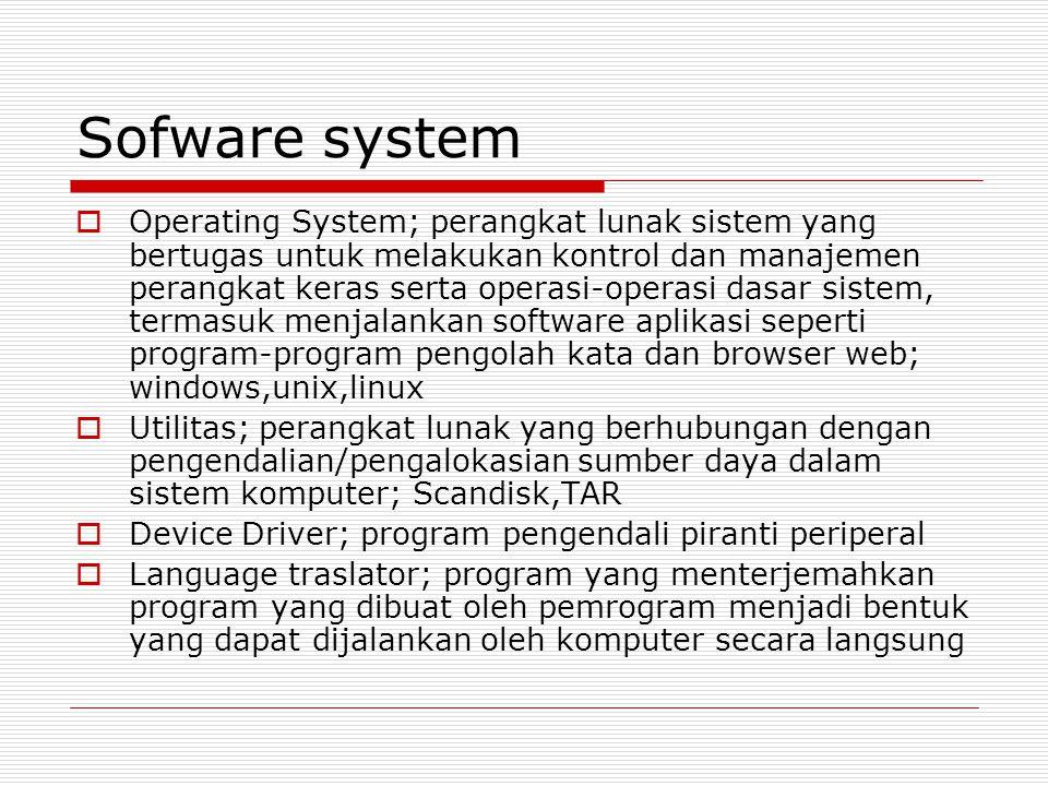 Sofware system  Operating System; perangkat lunak sistem yang bertugas untuk melakukan kontrol dan manajemen perangkat keras serta operasi-operasi da