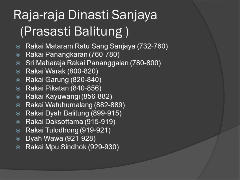 Raja-raja Dinasti Sanjaya (Prasasti Balitung )  Rakai Mataram Ratu Sang Sanjaya (732-760)  Rakai Panangkaran (760-780)  Sri Maharaja Rakai Panangga