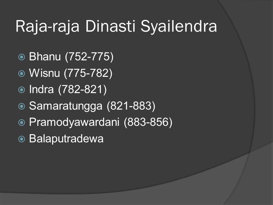Raja-raja Dinasti Syailendra  Bhanu (752-775)  Wisnu (775-782)  Indra (782-821)  Samaratungga (821-883)  Pramodyawardani (883-856)  Balaputradew