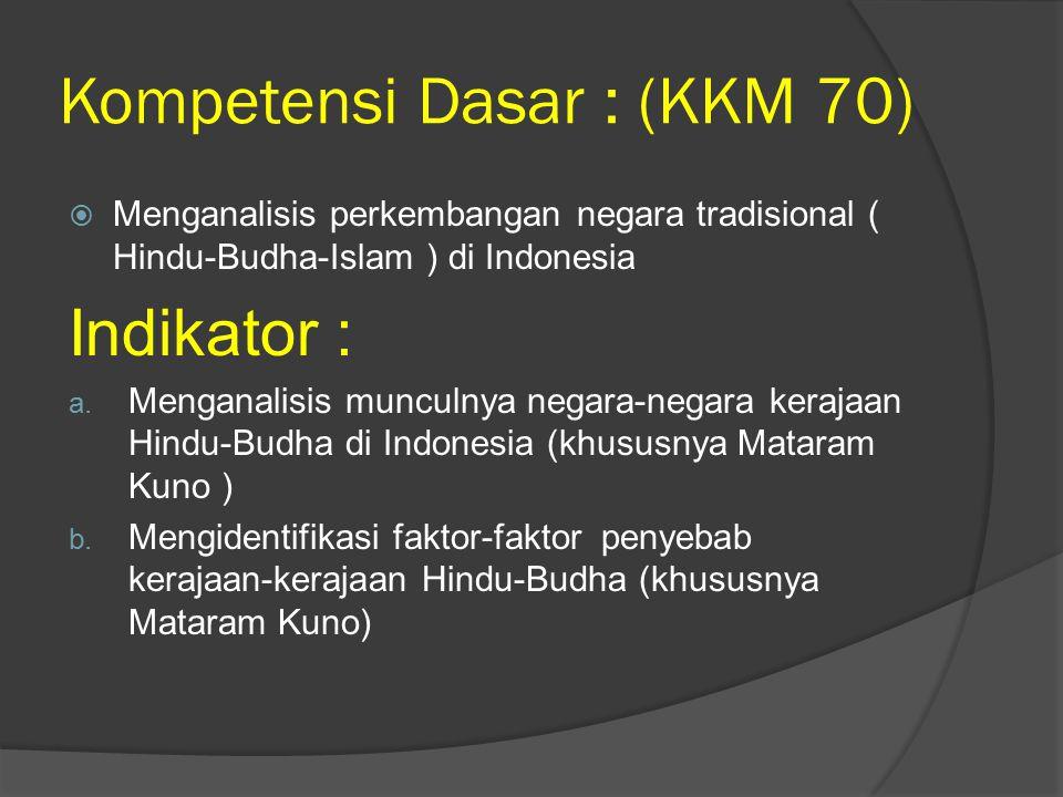 Kompetensi Dasar : (KKM 70)  Menganalisis perkembangan negara tradisional ( Hindu-Budha-Islam ) di Indonesia Indikator : a. Menganalisis munculnya ne