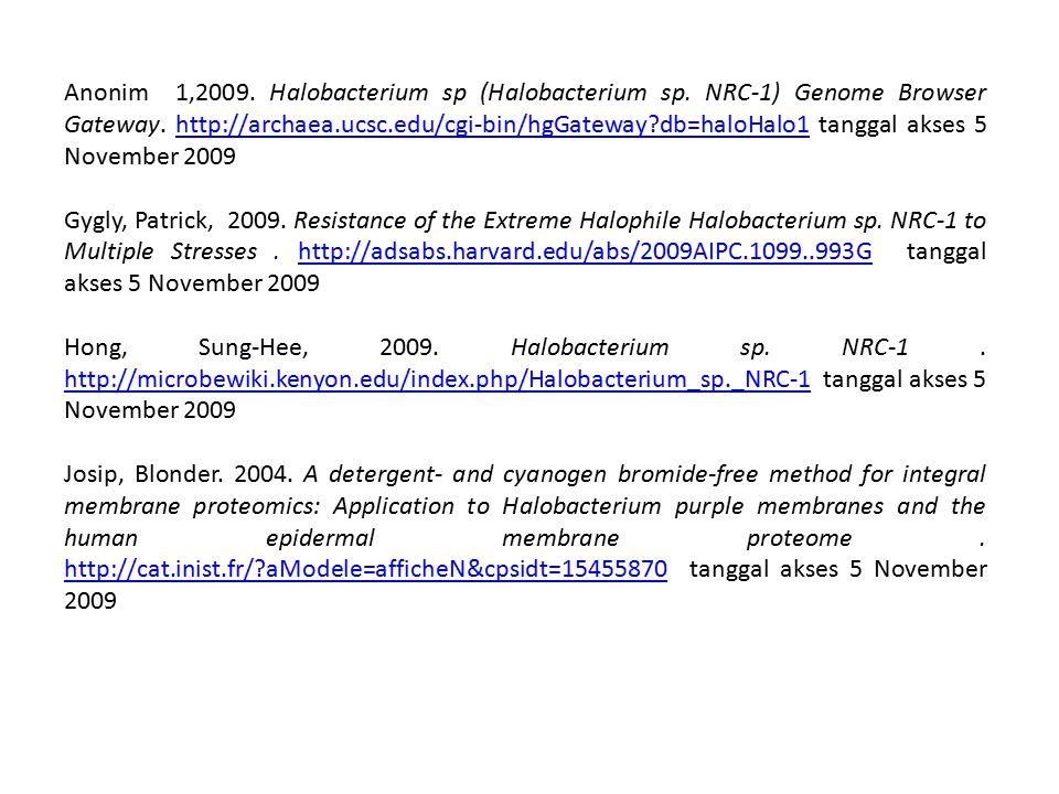 Anonim 1,2009. Halobacterium sp (Halobacterium sp. NRC-1) Genome Browser Gateway. http://archaea.ucsc.edu/cgi-bin/hgGateway?db=haloHalo1 tanggal akses