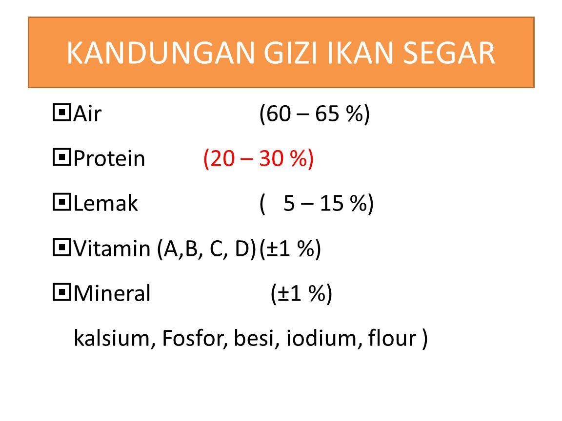 KANDUNGAN GIZI IKAN SEGAR  Air (60 – 65 %)  Protein(20 – 30 %)  Lemak( 5 – 15 %)  Vitamin (A,B, C, D)(±1 %)  Mineral (±1 %) kalsium, Fosfor, besi, iodium, flour )