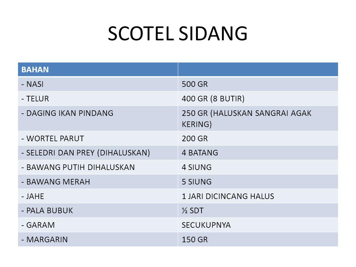 SCOTEL SIDANG BAHAN - NASI500 GR - TELUR400 GR (8 BUTIR) - DAGING IKAN PINDANG250 GR (HALUSKAN SANGRAI AGAK KERING) - WORTEL PARUT200 GR - SELEDRI DAN