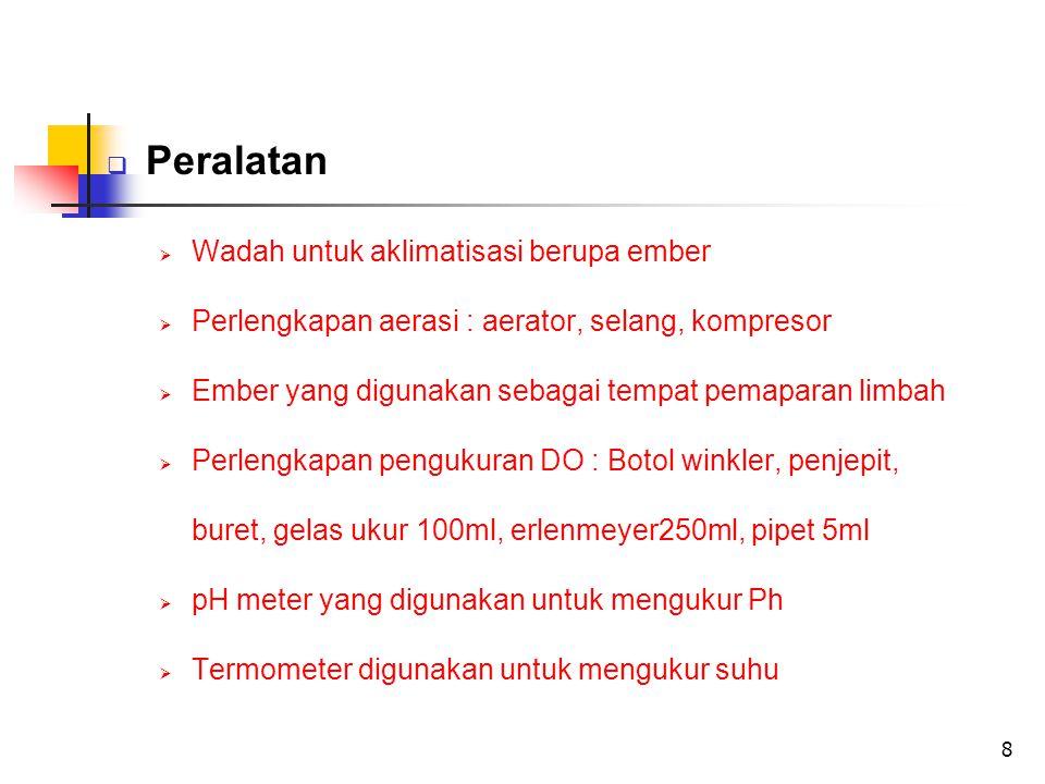 8  Peralatan  Wadah untuk aklimatisasi berupa ember  Perlengkapan aerasi : aerator, selang, kompresor  Ember yang digunakan sebagai tempat pemaparan limbah  Perlengkapan pengukuran DO : Botol winkler, penjepit, buret, gelas ukur 100ml, erlenmeyer250ml, pipet 5ml  pH meter yang digunakan untuk mengukur Ph  Termometer digunakan untuk mengukur suhu