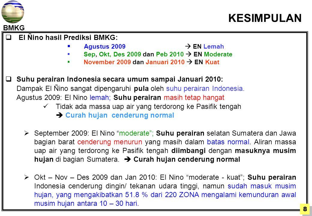 BMKG  El Ñino hasil Prediksi BMKG:  Agustus 2009  EN Lemah  Sep, Okt, Des 2009 dan Peb 2010  EN Moderate  November 2009 dan Januari 2010  EN Kuat  Suhu perairan Indonesia secara umum sampai Januari 2010: Dampak El Ñino sangat dipengaruhi pula oleh suhu perairan Indonesia.