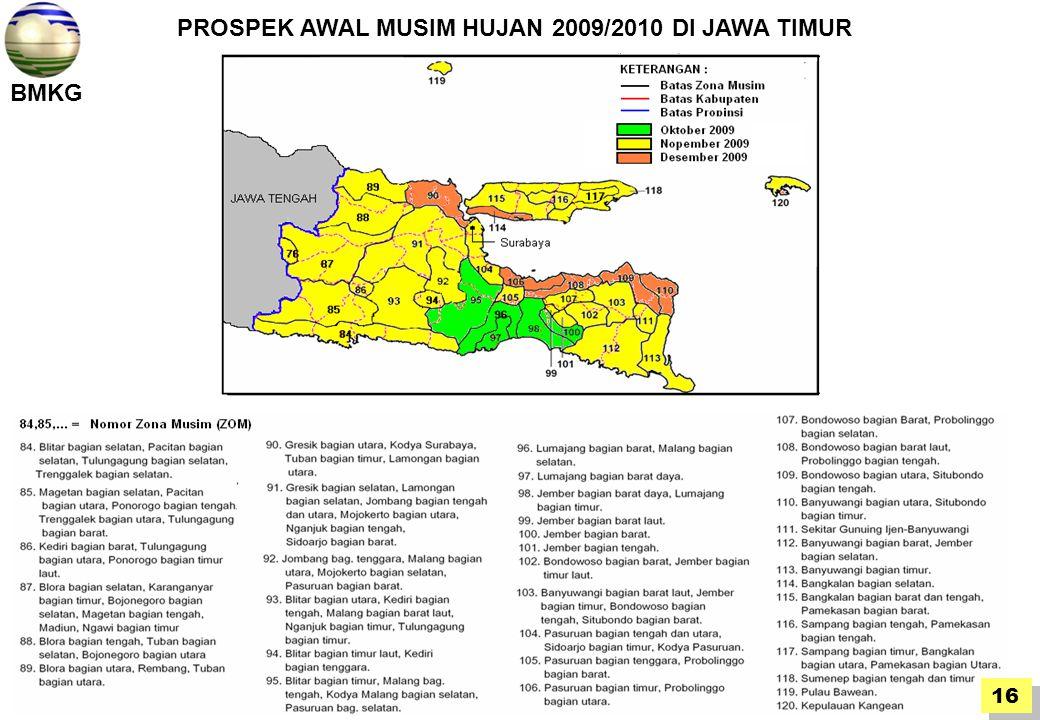 BMKG 16 PROSPEK AWAL MUSIM HUJAN 2009/2010 DI JAWA TIMUR