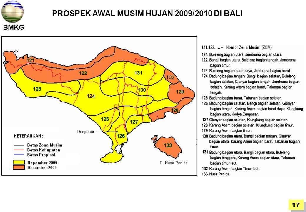 BMKG 17 PROSPEK AWAL MUSIM HUJAN 2009/2010 DI BALI